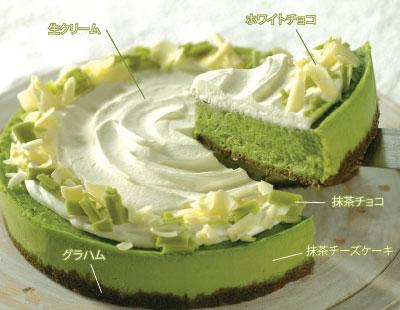 抹茶ホワイトチョコレートチーズケーキ